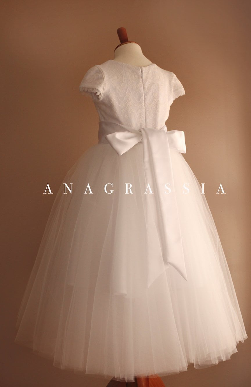 white communion lace tulle dress flower girl