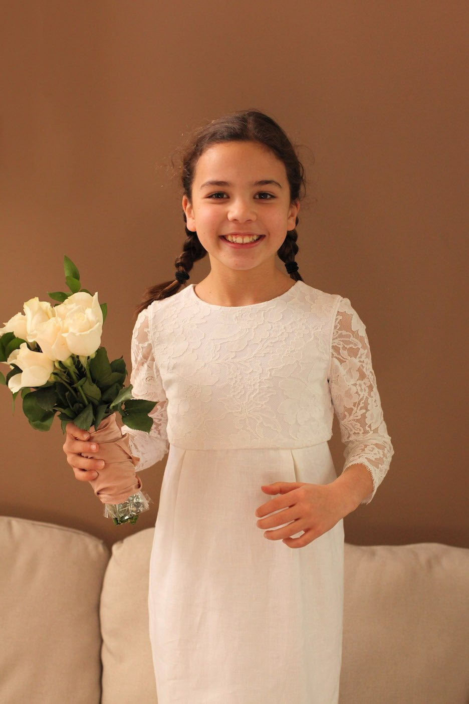 lace tulle linen flower girl dress detachable skirt