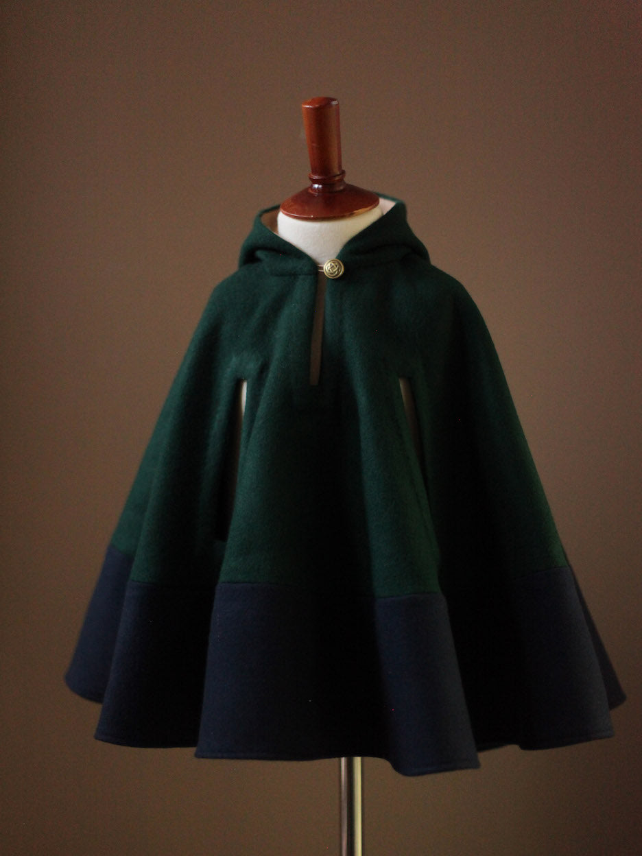 Color Block Wool Cape