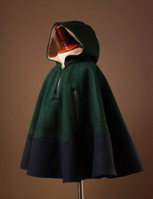 Hooded Wool Kids Cape
