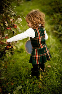 Pleated Green and Red Plaid Dress