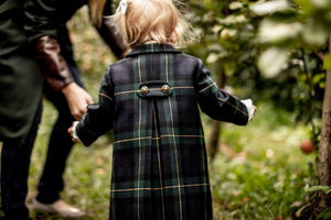 Navy Green Gold Plaid Tartan Pleated Classic Girls Jacket Coat Burberry Fendi Bonpoint childrenswear luxury Cotton Wool fall fashion holiday ralph lauren notre dame irish