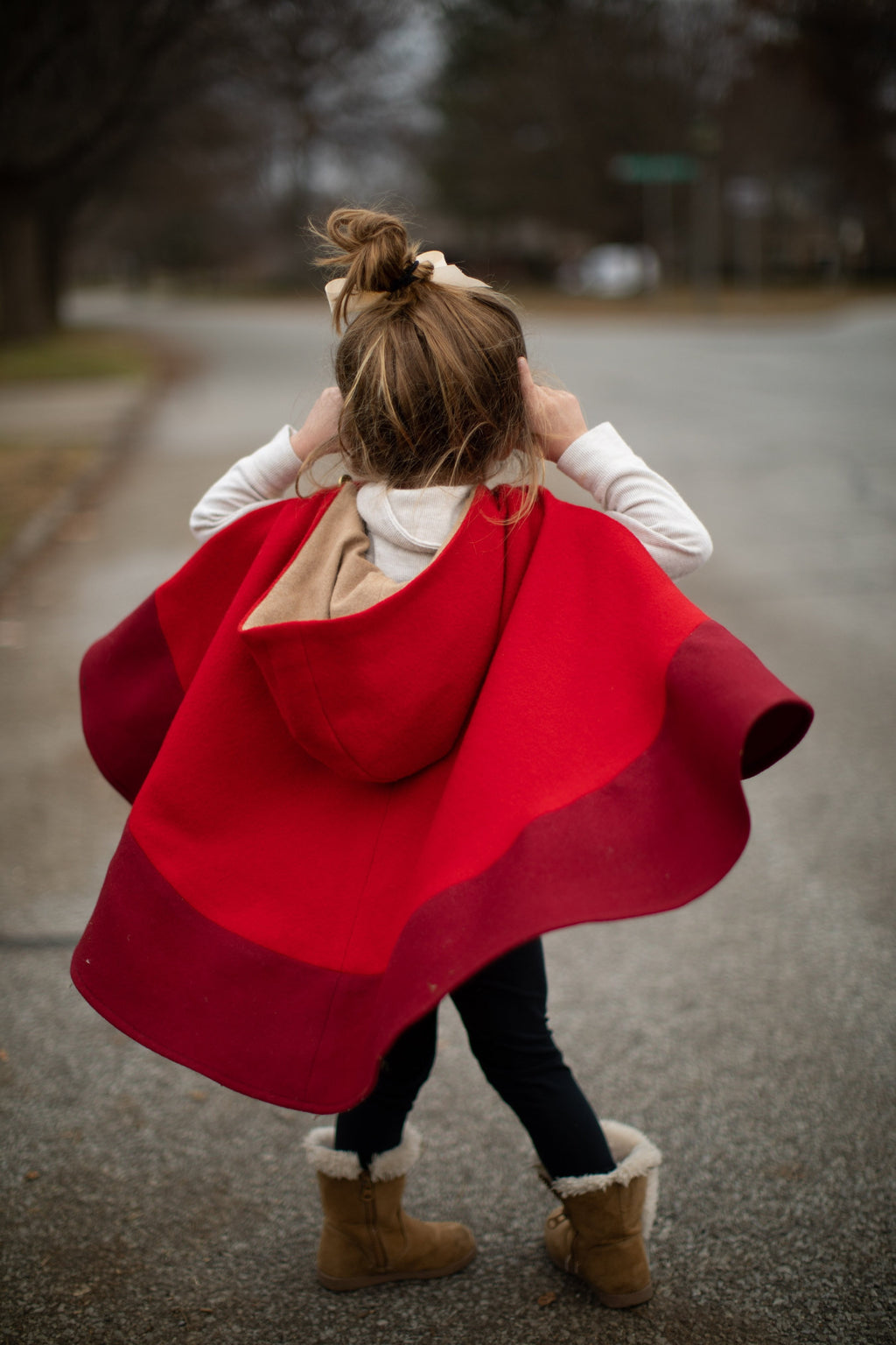 Red Color Block Wool Hooded Cape