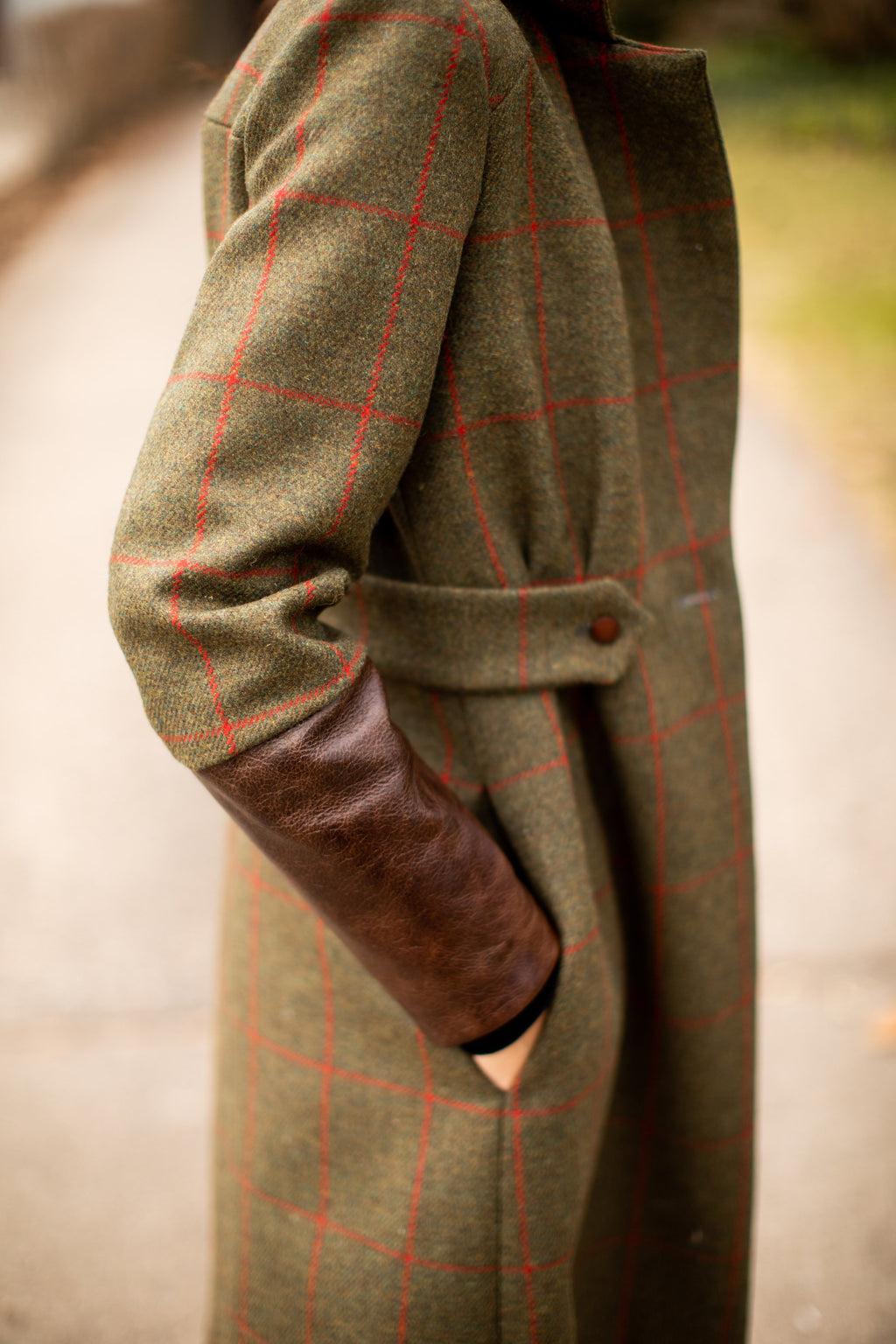 Green Brown Red Burgundy Tartan Plaid Wool Color Block Coat Jacket with Italian Leather Cuffs Button Burberry Fendi Ralph Tailored Custom High End Luxury