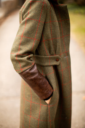English Green and Red Check Tweed Wool Coat with Brown Italian Leather Cuffs and Buttons