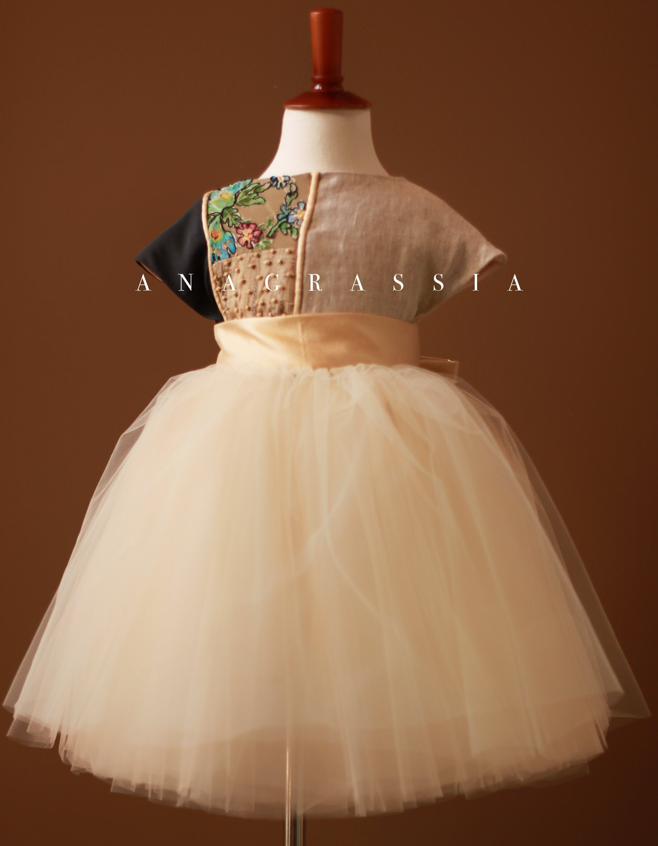 Flower girl dress custom made dressmaker  tulle