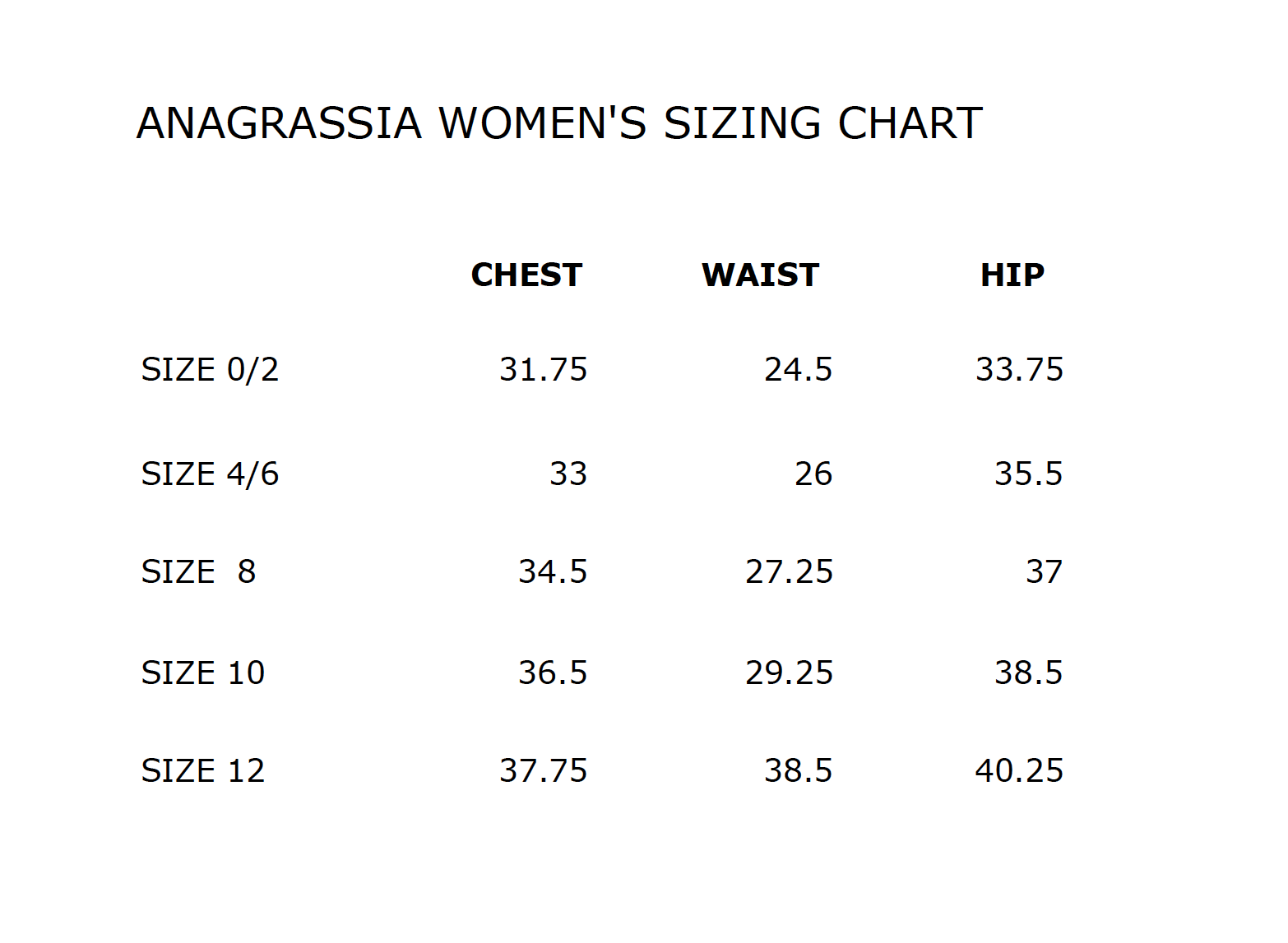 wool coat sizing chart