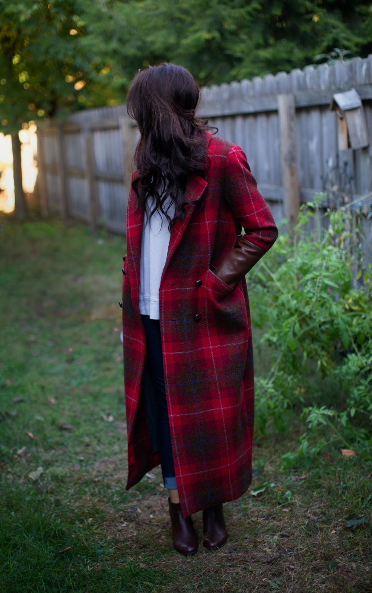 Long Red Plaid Double Breasted Tweed Jacket