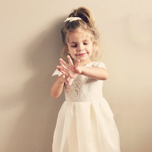 silk lace flower girl dress