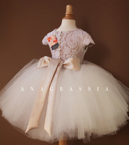 Flower Girl Tulle Skirt: WHITE TULLE & CHAMPAGNE SASH