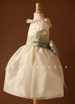 silk ivory collar flower girl dress wedding