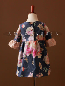 Cotton Floral Dress with Bell Sleeves