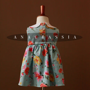 Anagrassia Bright Blue Rose Floral Dress
