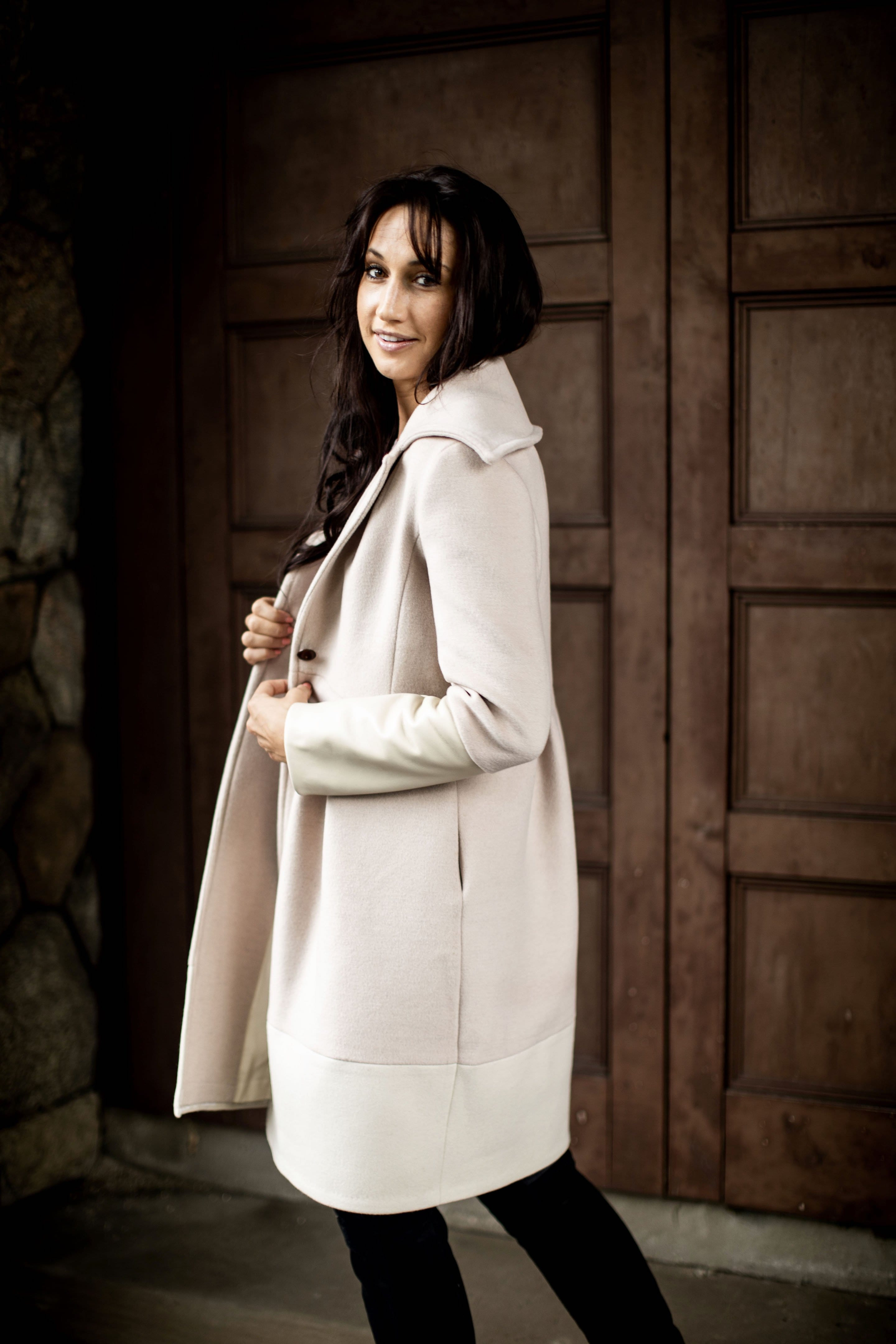 white color block coat