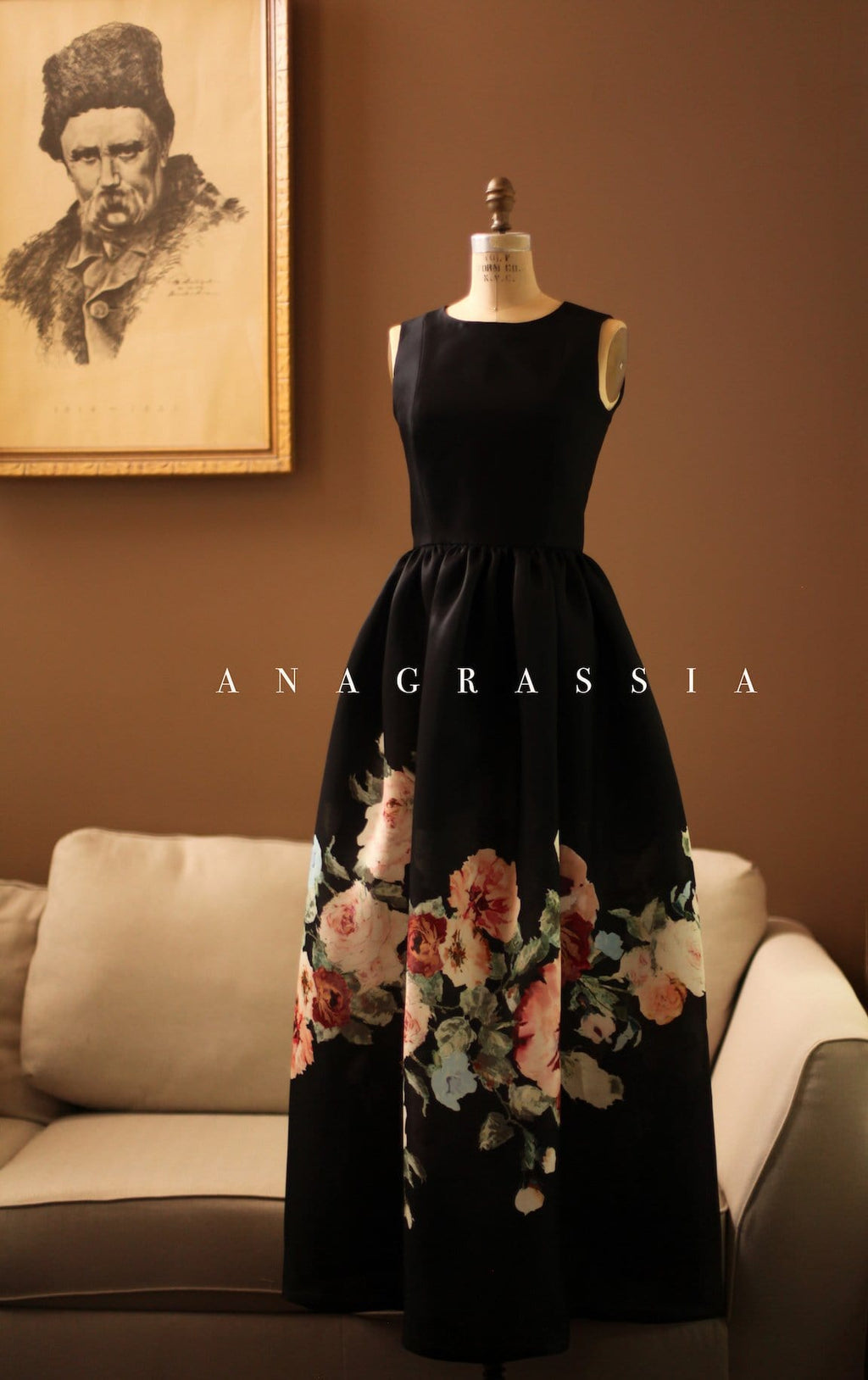 Black Floral Silk Gazar Ball Gown Dress Mother of the Bride Wedding Cristobal Balenciaga Inspired