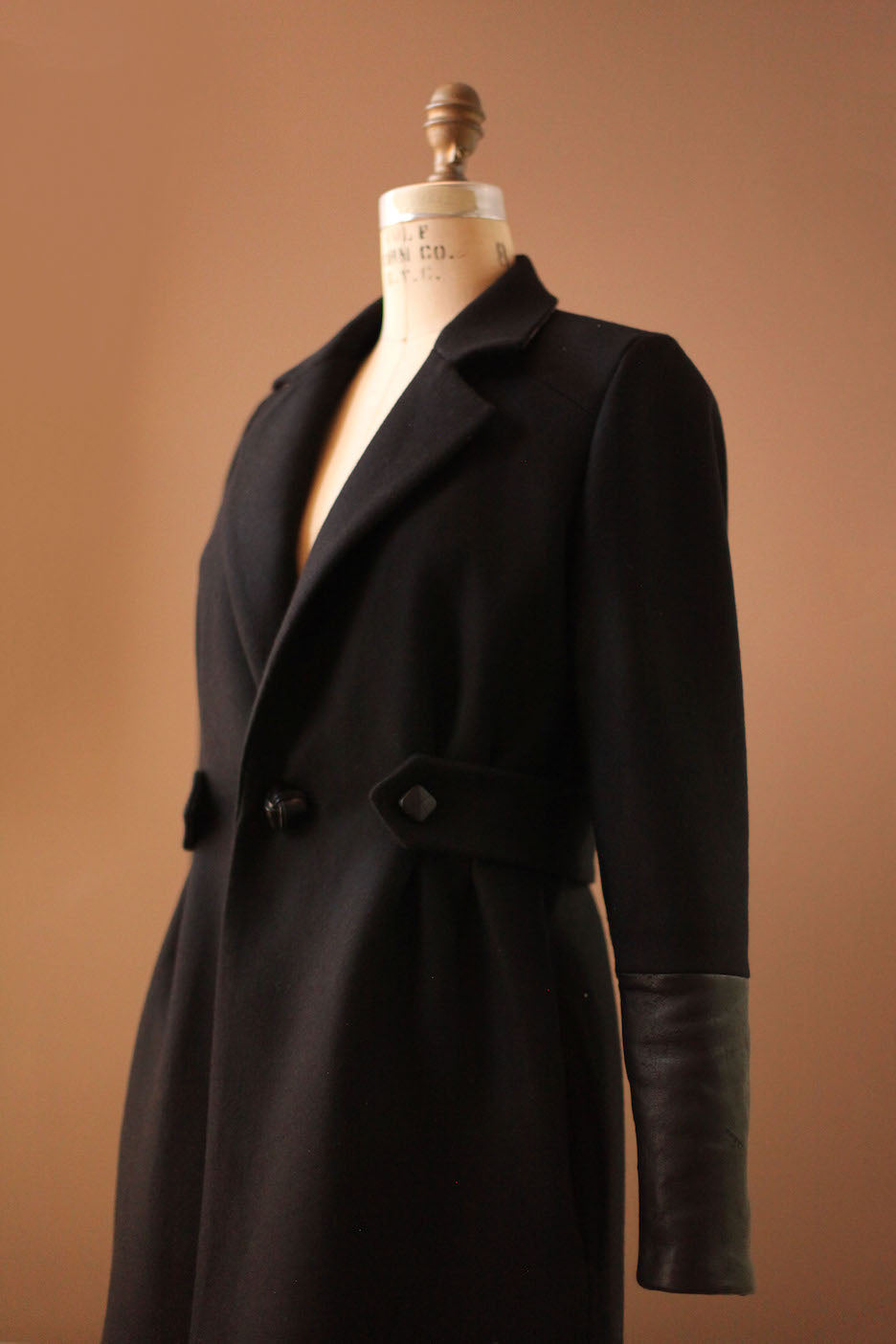 Womens black leather wool jacket