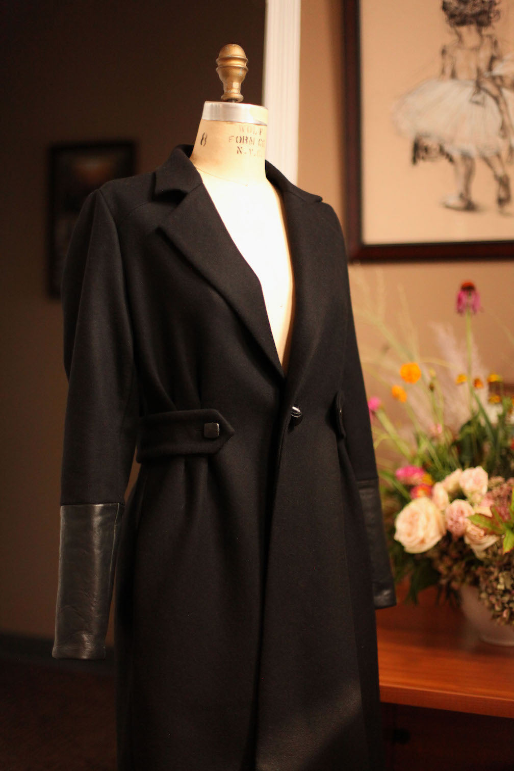 black wool womens coat