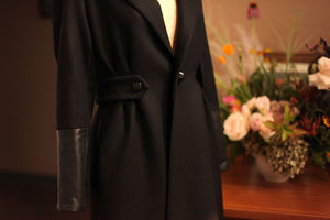 black leather wool coat