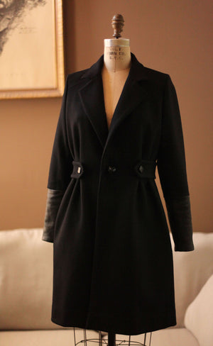 Womens black wool leather coat