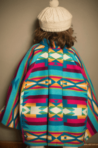 Colorful Rainbow American Wool Kids Cape Kilim Inspired