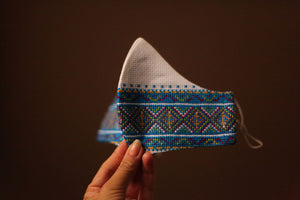 bright blue Ukrainian embroidery