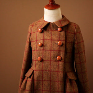 Burgundy Red Brown Plaid Tartan Girls Coat Jacket cognac leather buttons Equestrian Pleated Skirt Burberry Fendi Bonpoint childrenswear luxury Cotton Wool fall fashion holiday ralph lauren