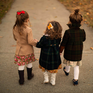 Red Check and Floral Gold Cotton Thanksgiving Fall Girls Dress with White Eyelet Peter Pan Collar