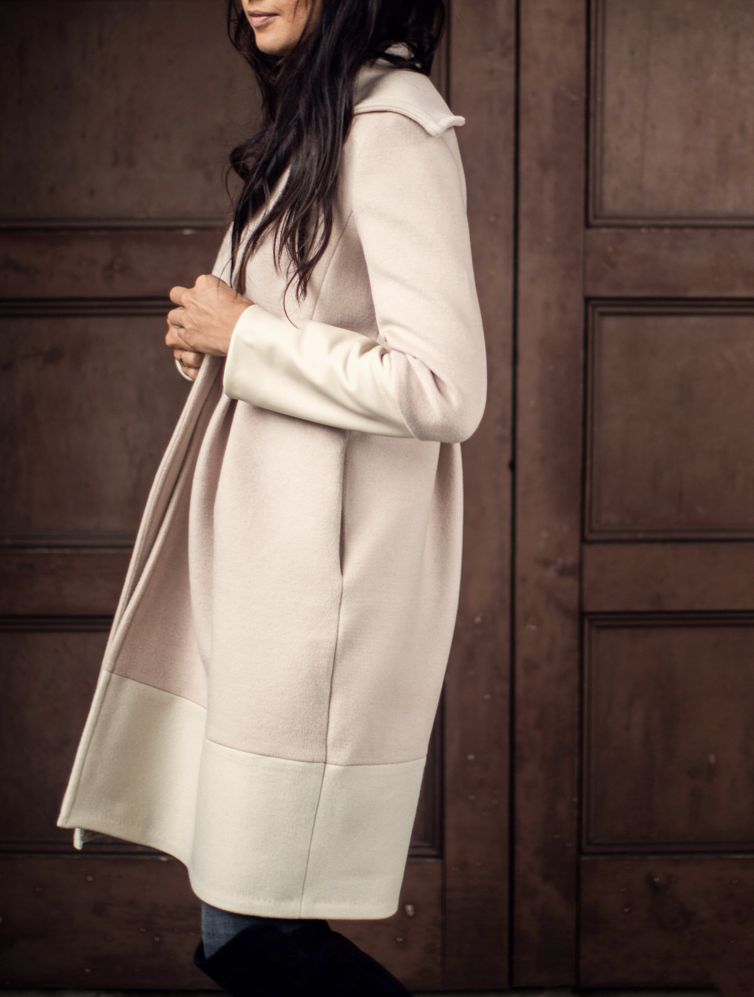 best champagne white wool cashmere leather wide collar custom coat jacket color block anagrassia luxury designer meghan markle kate middleton harrods bergdorf goodman barneys stuart weistzman high black boots aspen