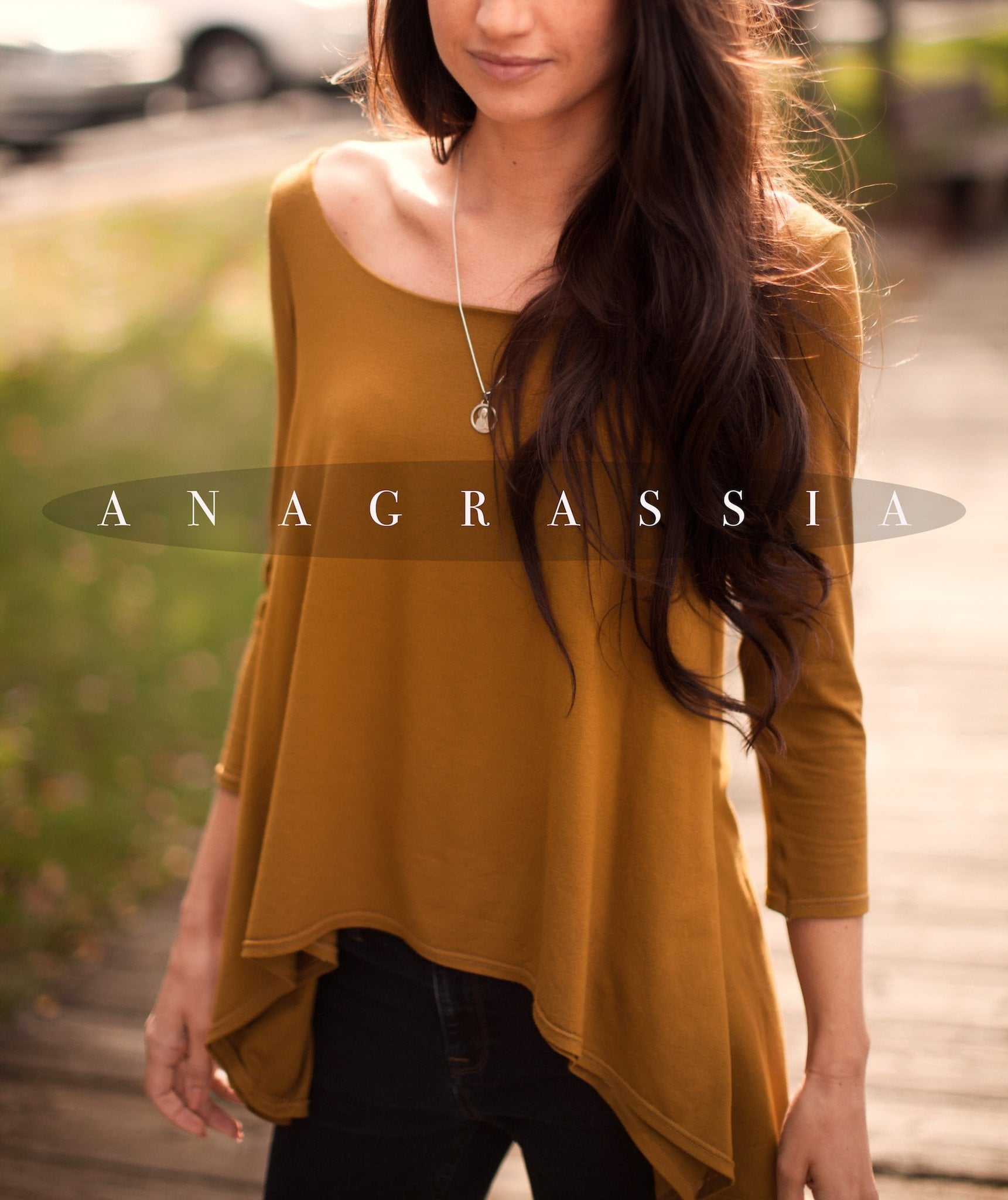 "Solid Ochre Color  ""The Banded Tunic"""