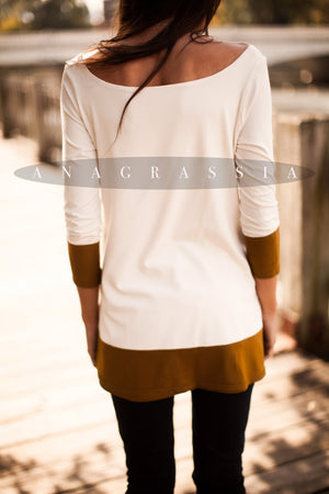 "Ivory/Ochre Color Block   ""The Banded Tunic"""