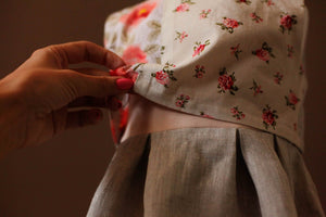 Crop Top Linen and Cotton Floral Dress