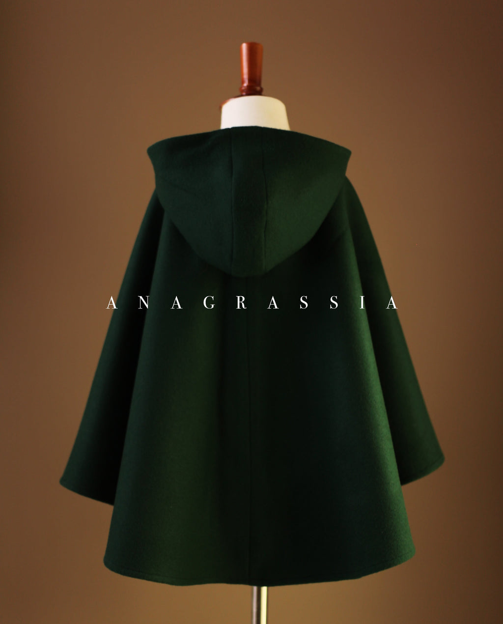 Dark Green Wool Hooded Cape