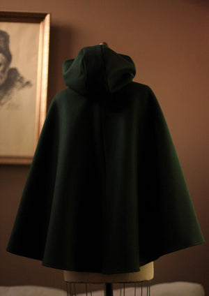 Hooded Wool cape womens