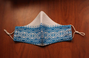blue Greek embroidered face mask
