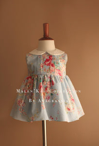 Light Blue Rose Peter Pan Collar Floral Girls dress harrods well dressed wolf princess charlotte harrods childrenswear luxury vintage
