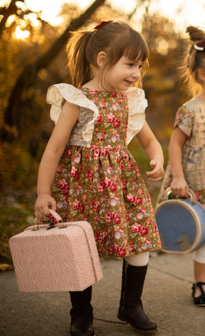 Cotton Pink and Gold Floral Pinafore Dress with Music Notes