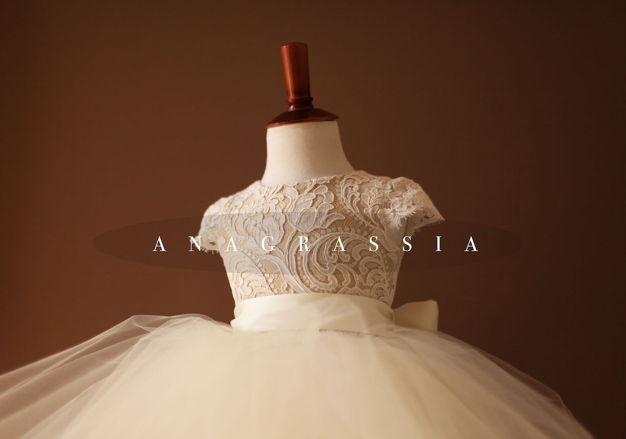 flower girl dress lace tulle gold ivory communion