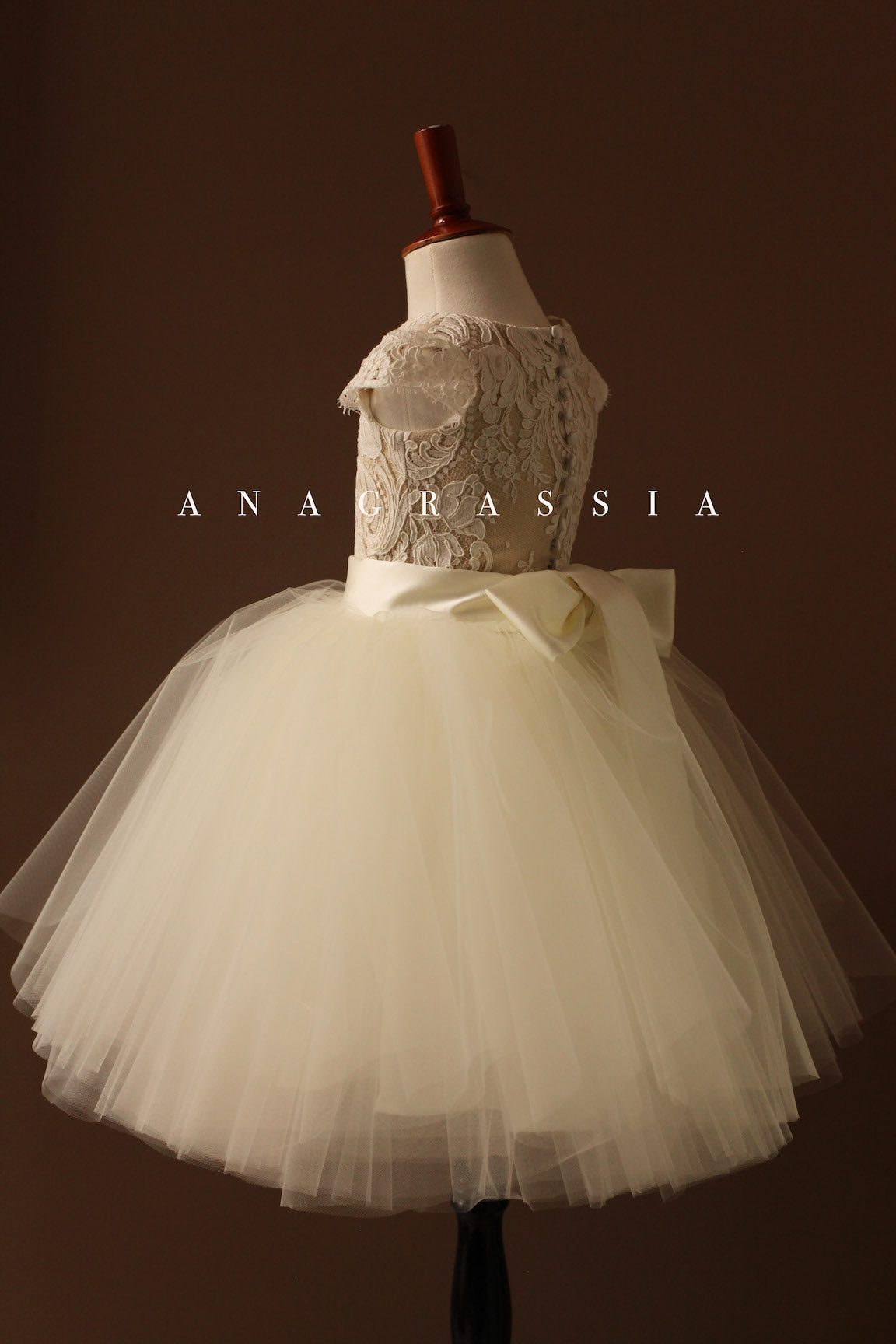 flower girl dress lace tulle gold ivory