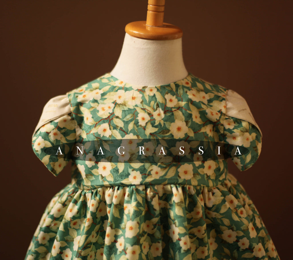 Green Turquoise Floral Dress with Short Petal Sleeves