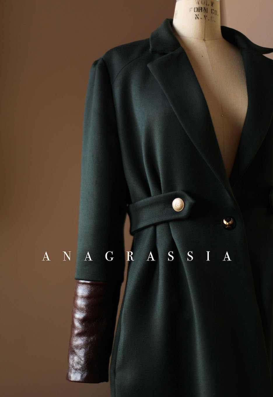 Dark Green Wool Coat with Brown Italian Leather and Gold Buttons