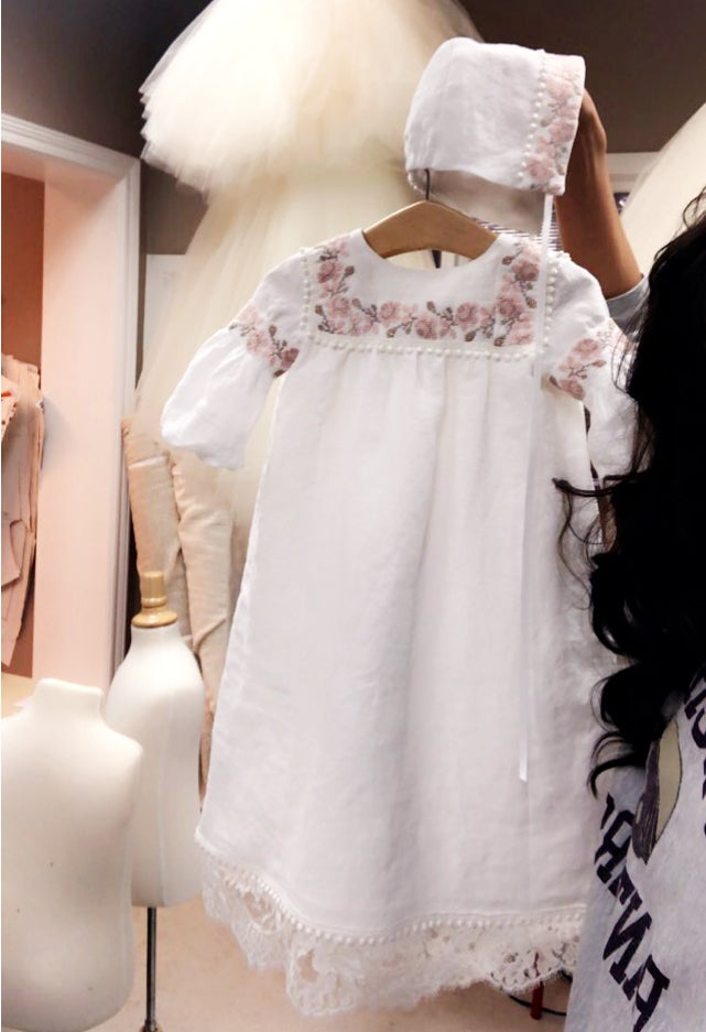 Ukrainian Embroidered Girls Baptismal Gown