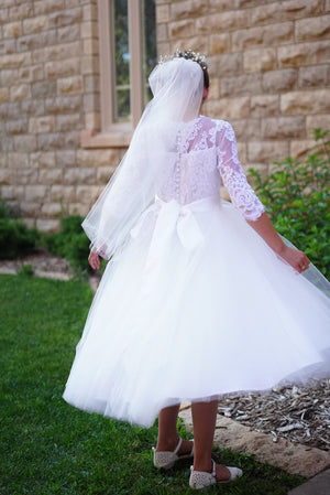 illusion neckline lace communion dress
