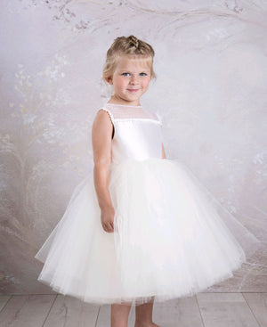 illusion neckline tulle flower girl dress