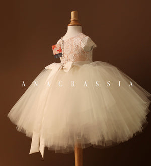 lace tulle flower girl dress