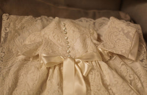 handmade baptismal gown and bonnet