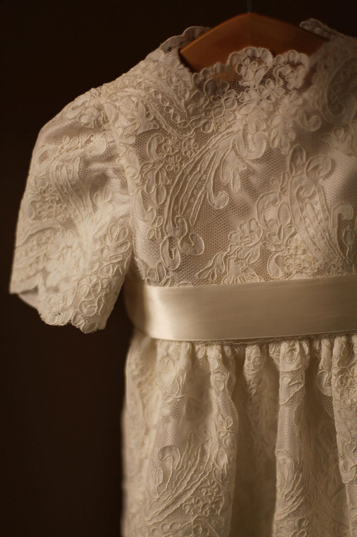 lace silk christening gown