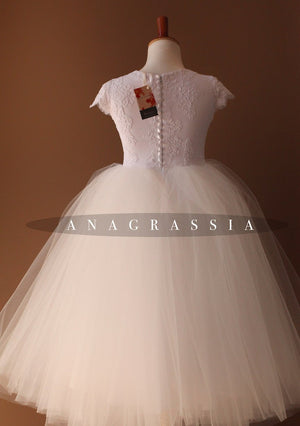 lace cap sleeve tulle flower girl dress