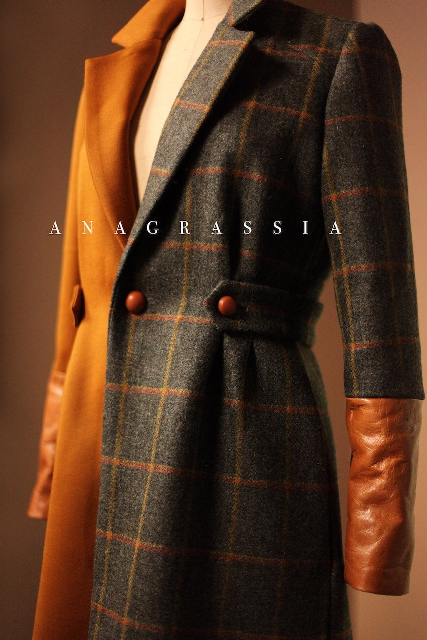 Gold Gray Brown Tartan Plaid Wool Color Block Coat Jacket with Cognac Italian Leather Cuffs Button Burberry Fendi Ralph Tailored Custom High End Luxury
