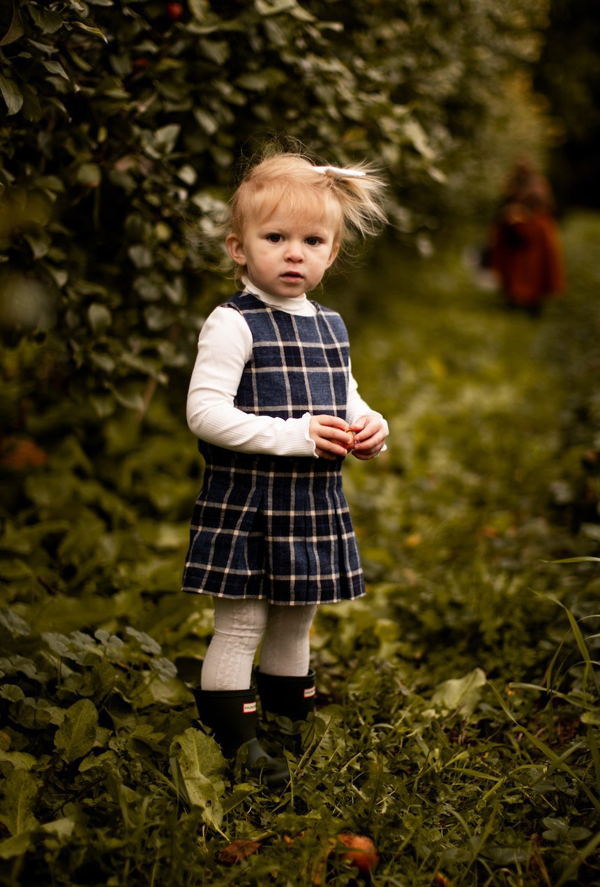 Blue Navy Plaid Girls Dress Pleated Skirt Burberry Gucci Stella Fendi Bonpoint childrenswear luxury Cotton Wool