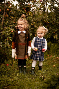 Plaid Pleated Girls Dress with Long Sleeves and Peter Pan Collar